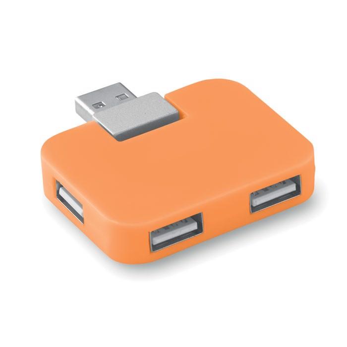 4 port USB hub Square - Orange