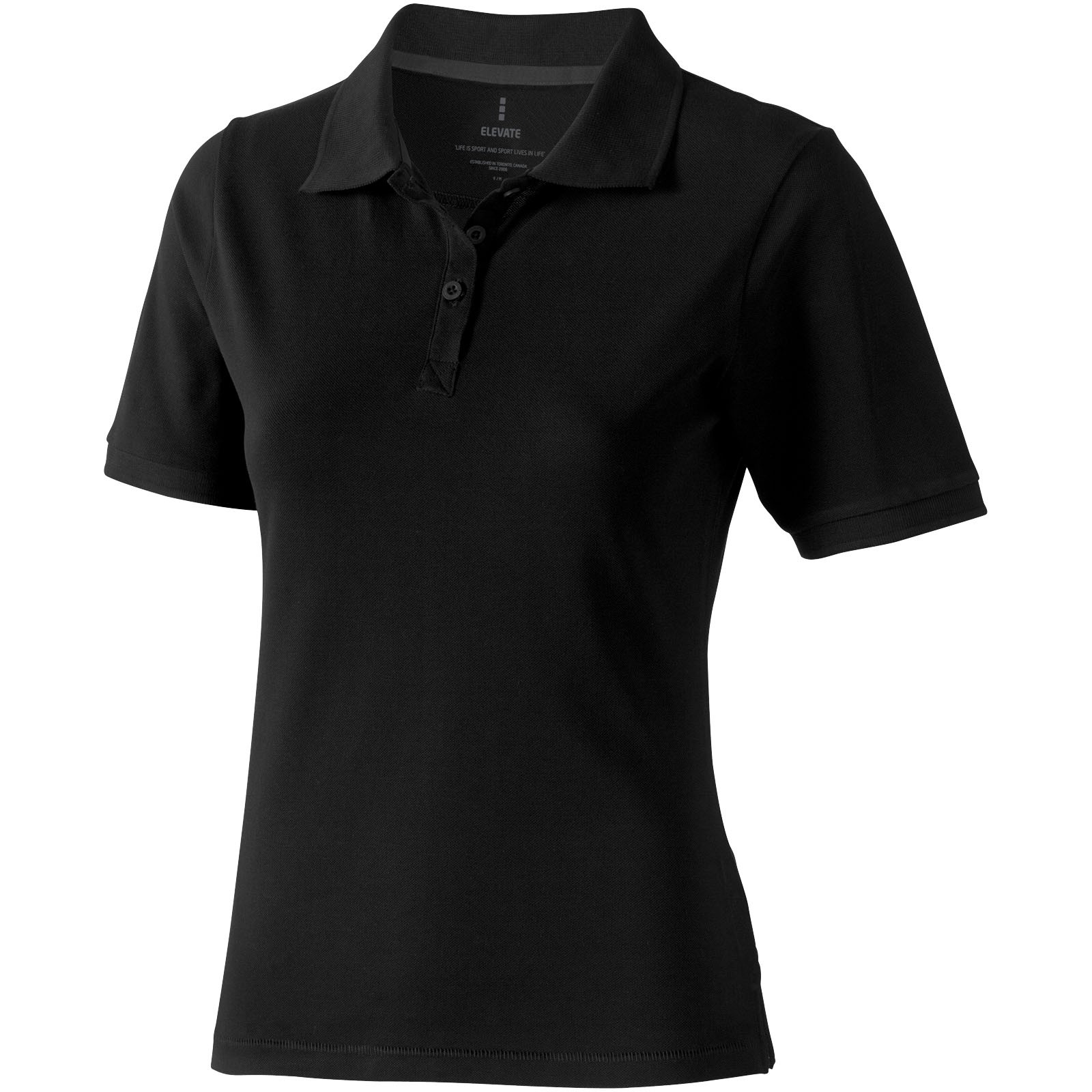 Calgary short sleeve women's polo - Solid black / L