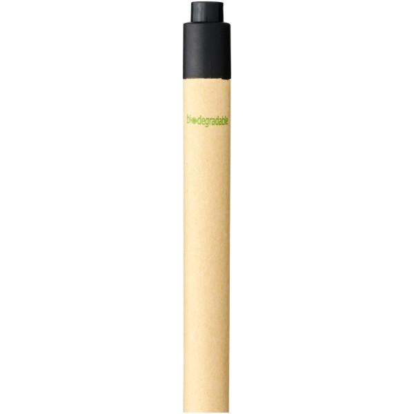 Berk kuličkové pero z recyklované lepenky a kukuřičného plastu - Černá