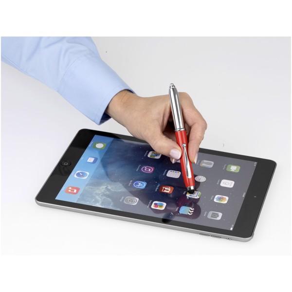 Kuličkové pero a stylus Xenon s LED světlem - Červená s efektem námrazy / Stříbrný