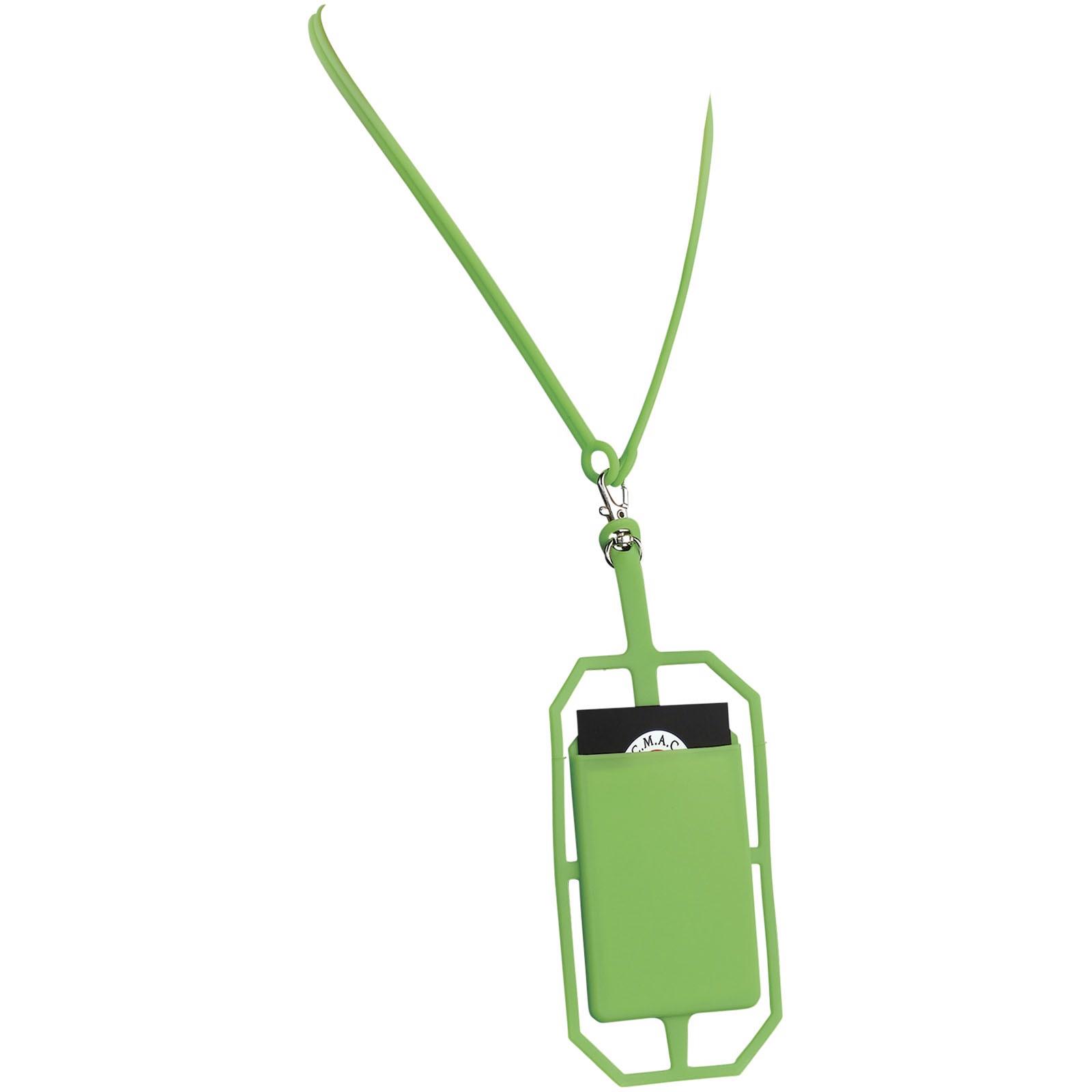 Silikonové pouzdro na kartu s RFID a lanyardem - Limetka