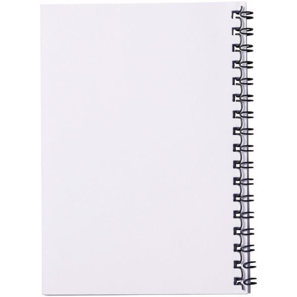 PP obal poznámkového bloku Desk-Mate® wire-o A6 - Bílá / Černá / 50 pages