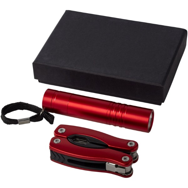 Scout multi-function knife and LED flashlight set - Red