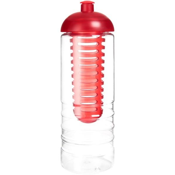 H2O Treble 750 ml Flasche mit Kuppeldeckel und Infusor - Transparent / Rot