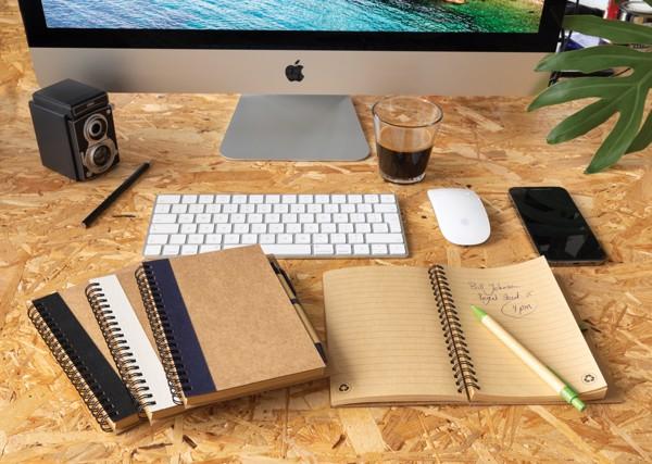 Kraft spiral notebook with pen - White