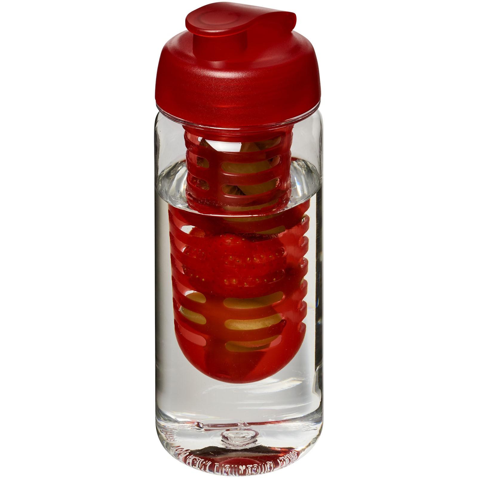 H2O Octave Tritan™ 600 ml flip lid bottle & infuser - Transparent / Red