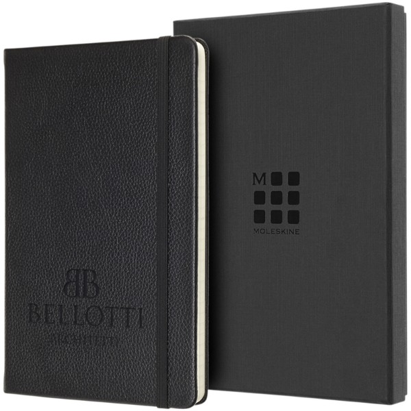 Classic L leather notebook - ruled - Solid black