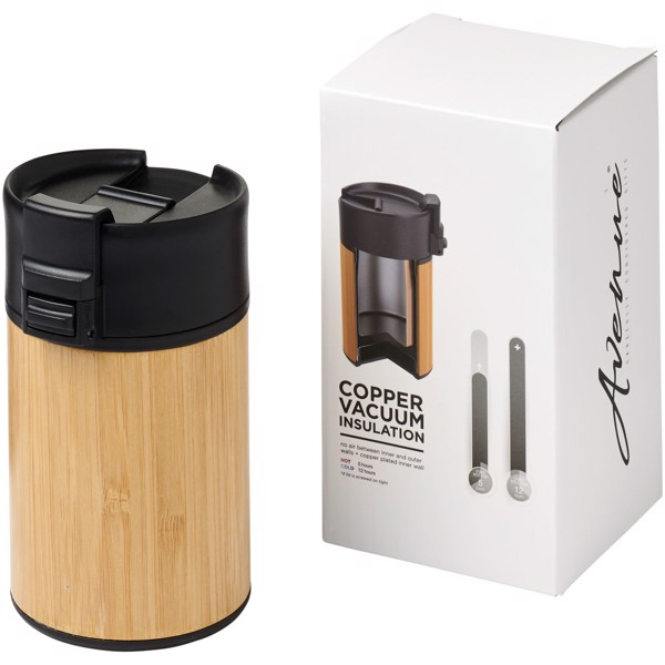 Arca 200 ml leak-proof copper vacuum insulated bamboo tumbler - Solid black