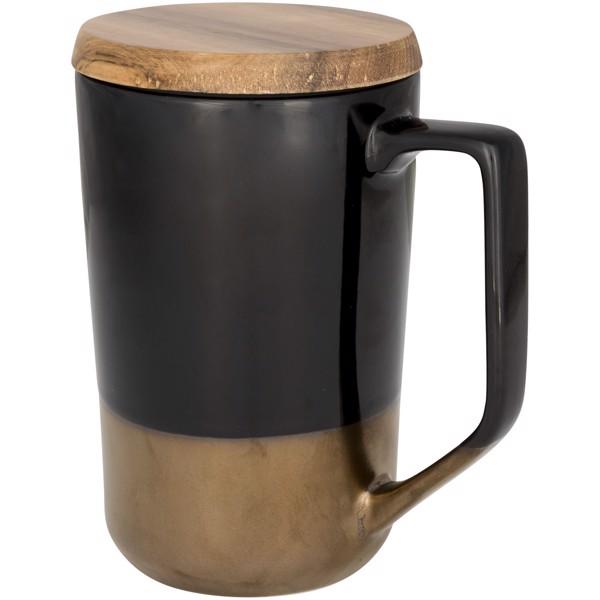 Tahoe 470 ml Keramikbecher mit Holzdeckel - Schwarz