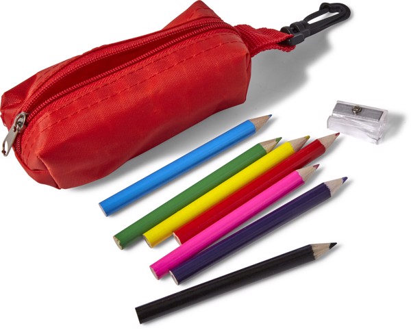 Polyester pouch with pencils - Red