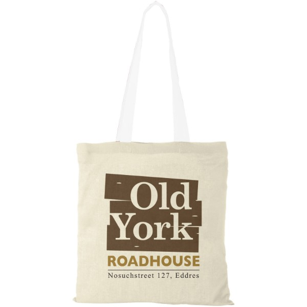 Nevada 100 g/m² cotton tote bag coloured handles - Natural / White