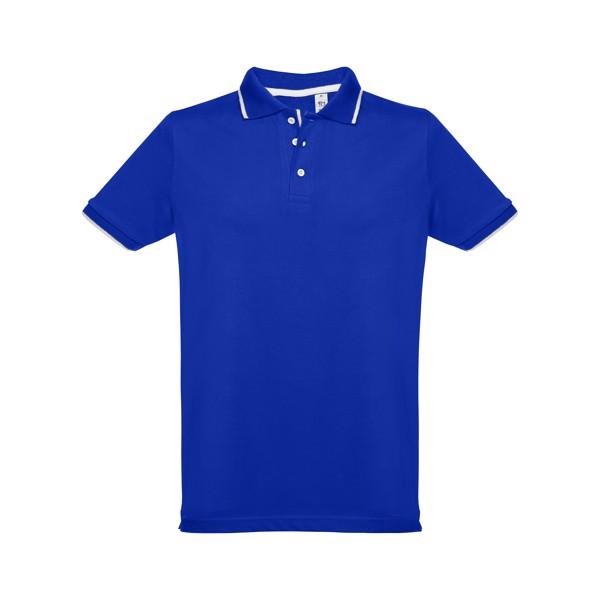 ROME. Ανδρική πόλο μπλούζα slim fit - Μπλε Ρουά / S
