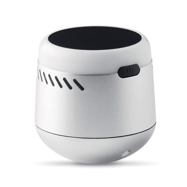 Głośnik z podświetlanym logo Tambor - srebrny mat