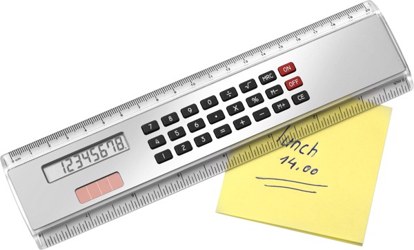 ABS ruler with calculator - Silver