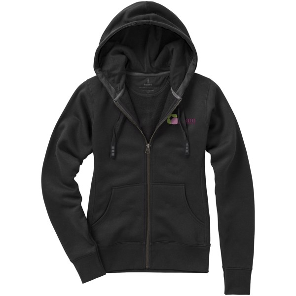 Arora hooded full zip ladies sweater - Solid Black / XL