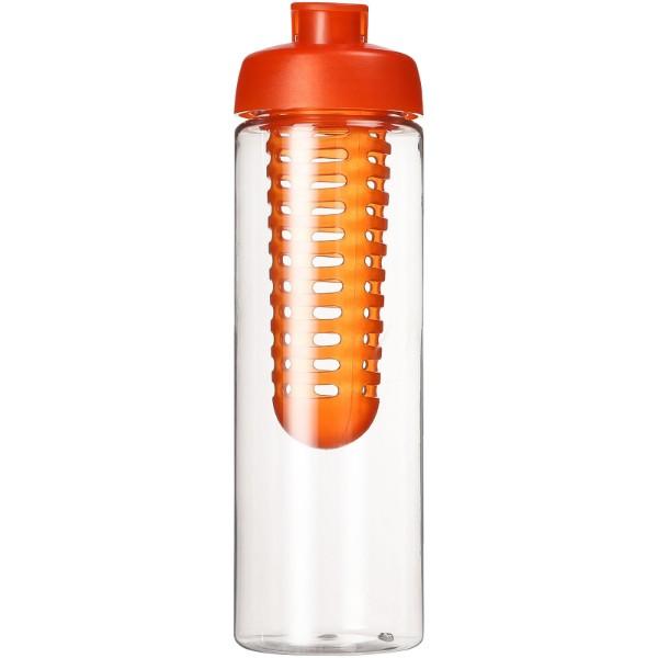 H2O Vibe 850 ml flip lid bottle & infuser - Transparent / Orange