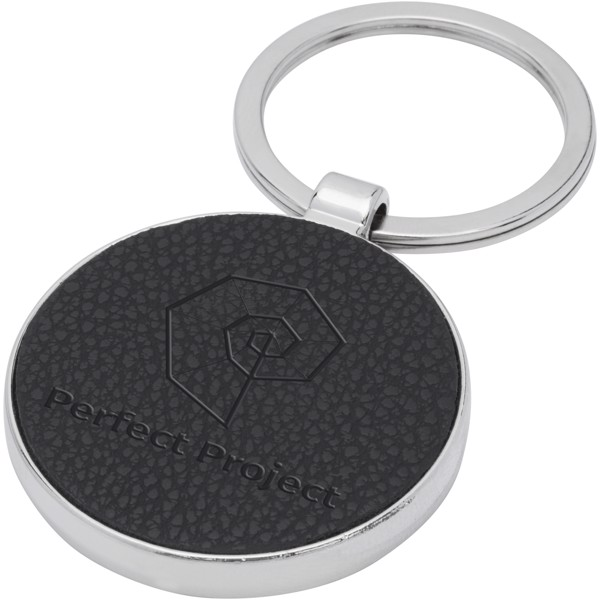 Paolo laserable PU leather round keychain