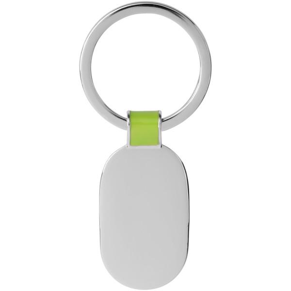 Oválný přívěsek na klíče Barto - Limetkově zelená / Stříbrný