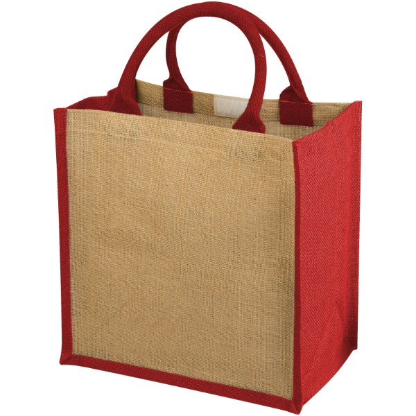 Chennai jute tote bag - Natural / Red