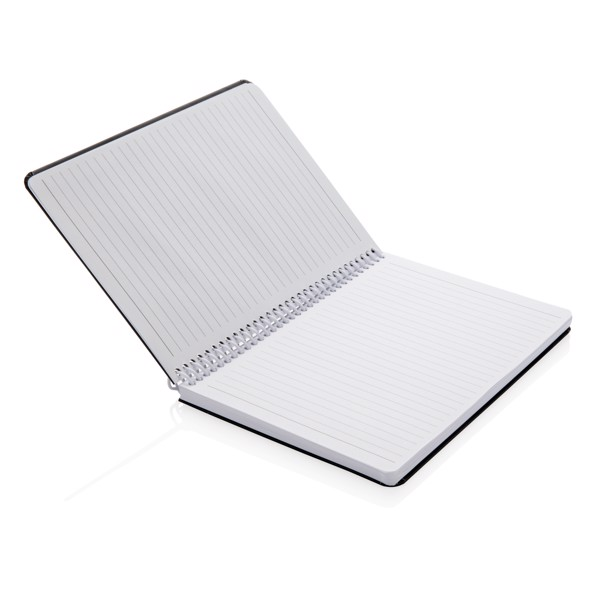 Deluxe A5 notebook with spiral ring - White / Black