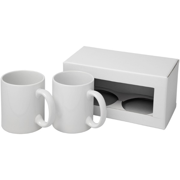 Ceramic sublimation mug 2-pieces gift set - White