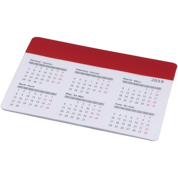 Chart mouse pad with calendar - Red