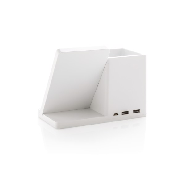 Bezdrátově nabíjecí stojánek na telefon a pera Ontario 5W - Bílá