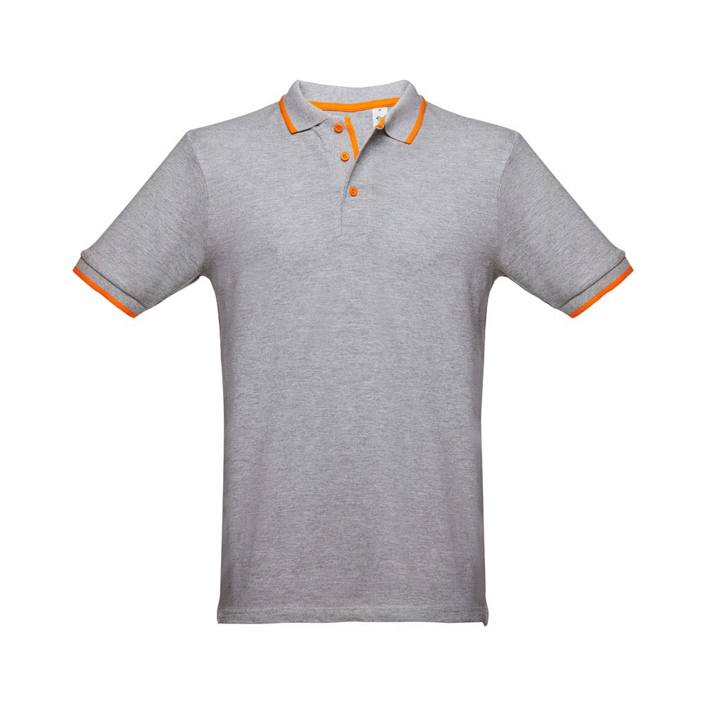 ROME. Ανδρική πόλο μπλούζα slim fit - Ανοιχτό Γκρι Heather / S