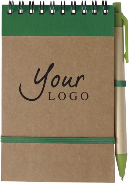 Bloc de notas de cartón y bolígrafo - Green