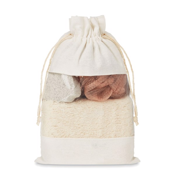 Bath set in cotton pouch Cuida Set