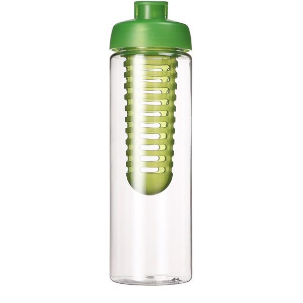 H2O Vibe 850 ml lahev s vyklápěcím víčkem a infuzérem - Průhledná / Limetka