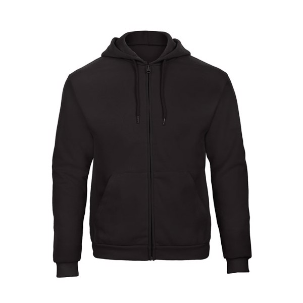 Herren Kapuzen Sweatshirt Hooded Full Zip Sweat Unisex - Black/Black Opal / XS