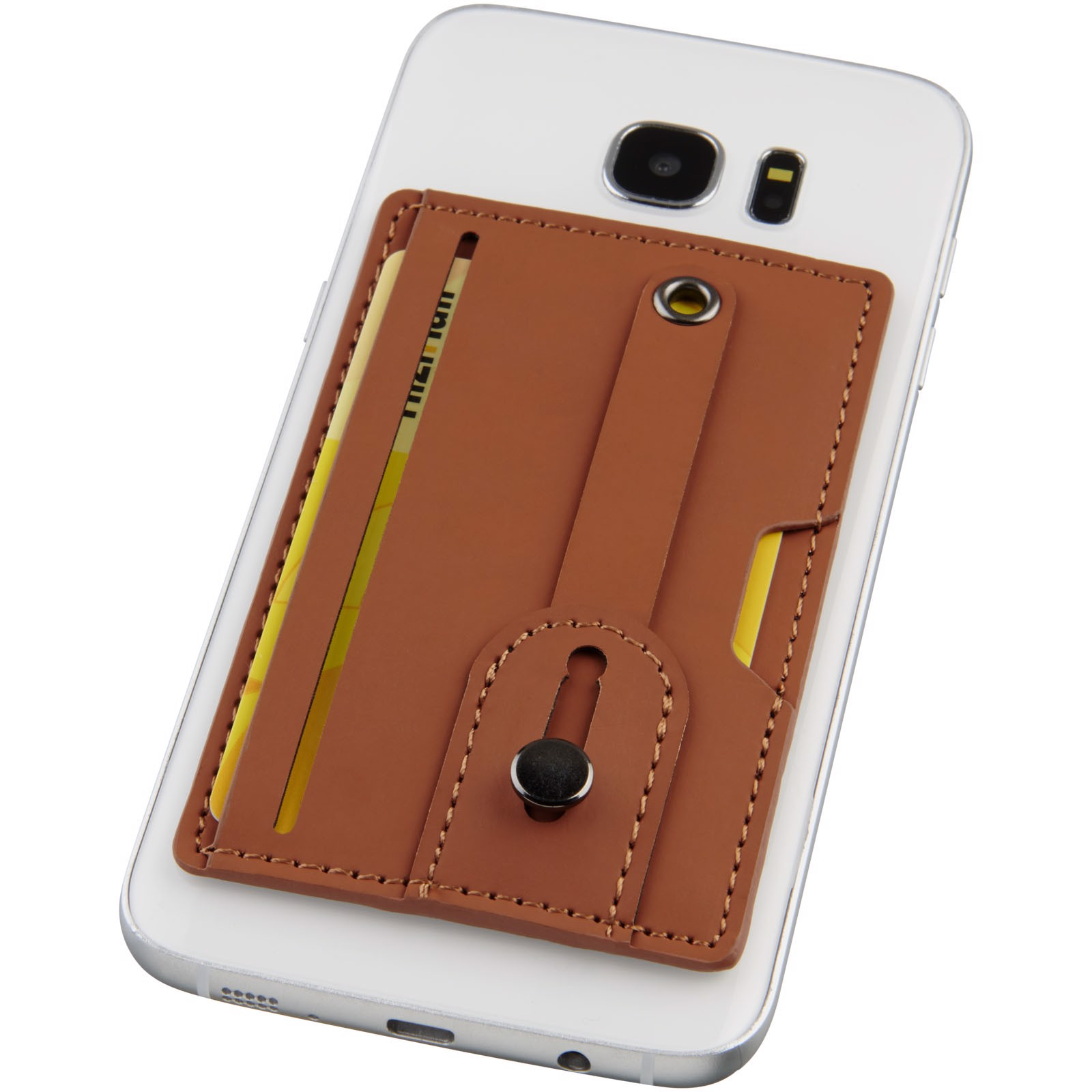 Prime RFID phone wallet with strap - Brown