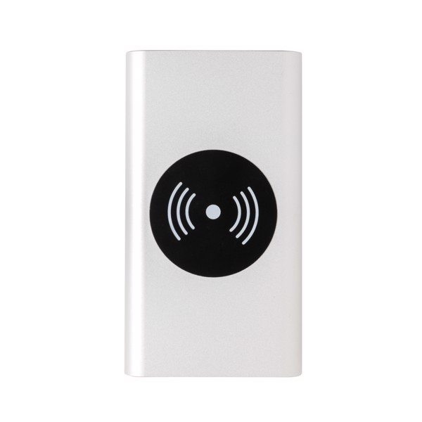 Hliníková bezdrátová powerbanka 10 000 mAh 5W - Stříbrná
