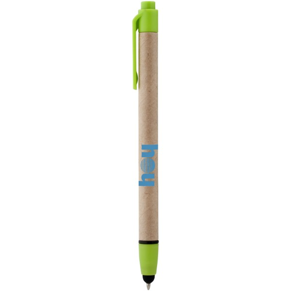 Planet recycled stylus ballpoint pen - Natural / Lime