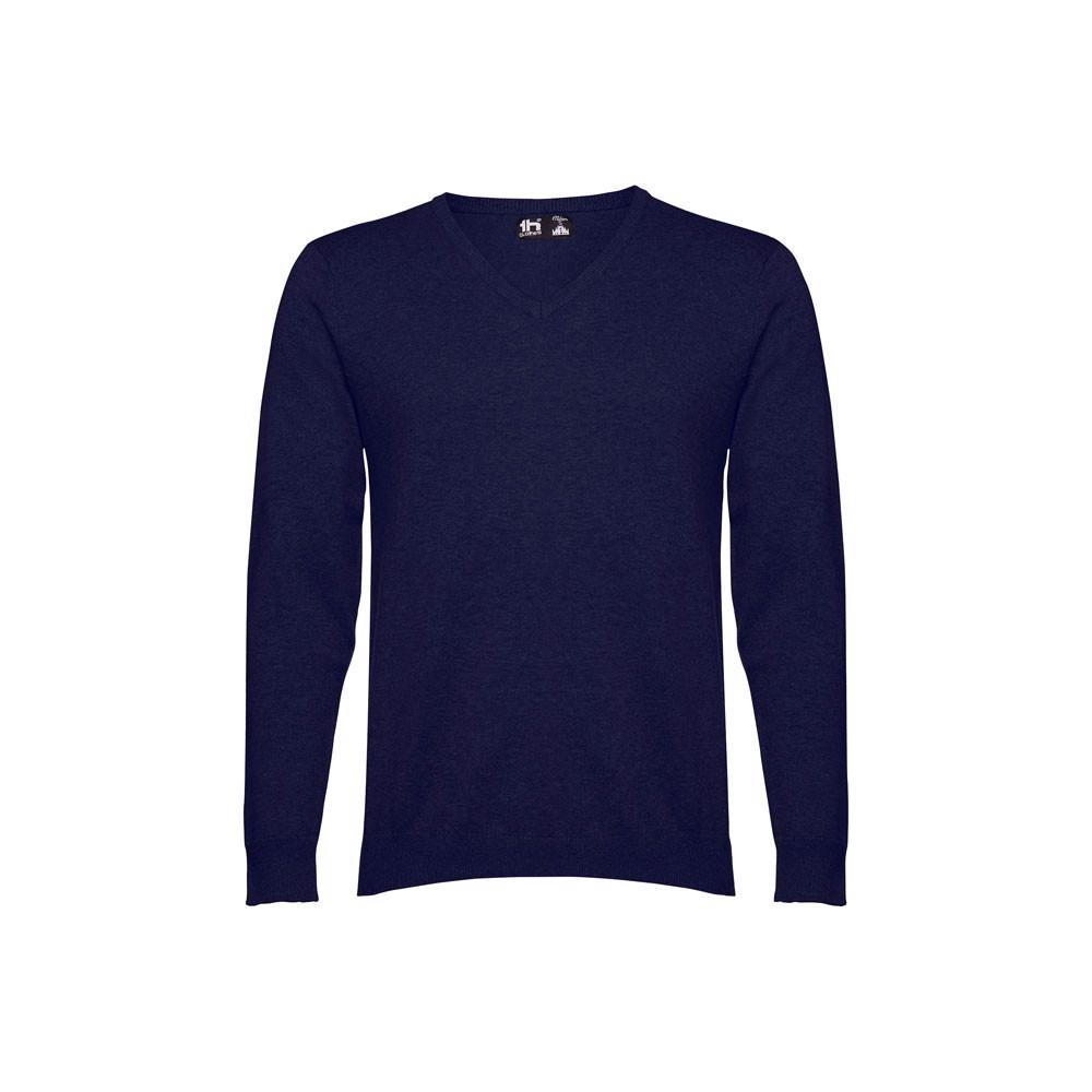 THC MILAN. Pánský svetr s výstřihem do V - Námořnická Modrá / S