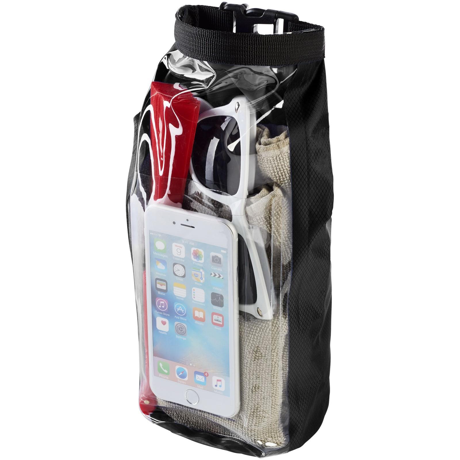 Tourist 2 l wasserdichte Outdoor-Tasche mit Telefonhülle - Schwarz