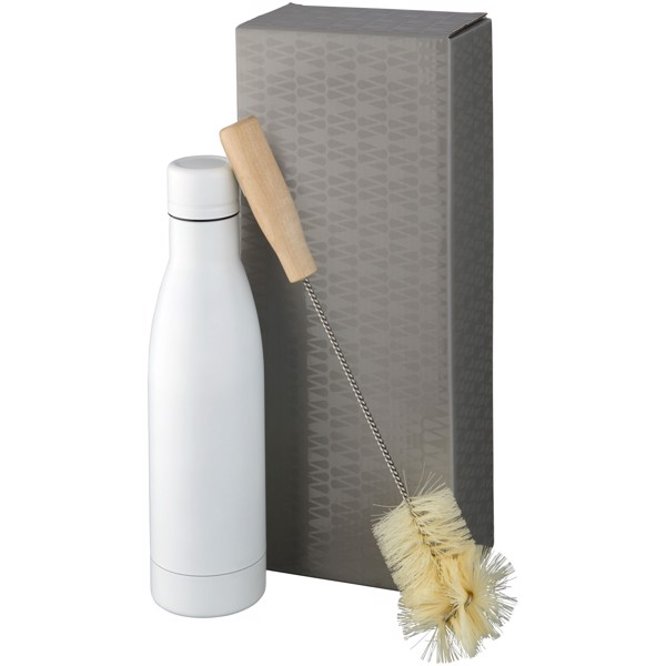 Vasa copper vacuum insulated bottle with brush set - White