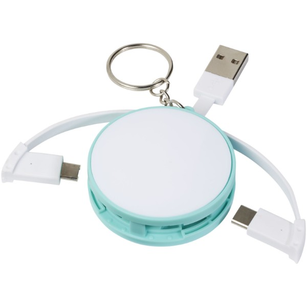 Wrap-around 3-in-1 charging cable with keychain - Mint