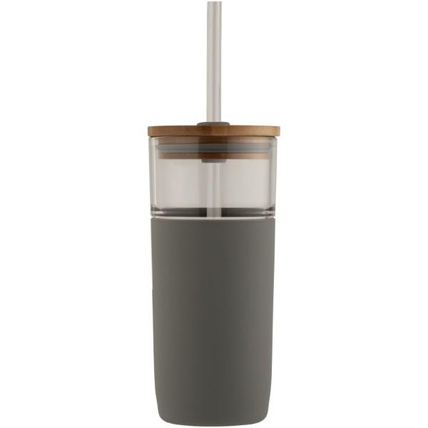Arlo 600 ml glass tumbler with bamboo lid - Grey