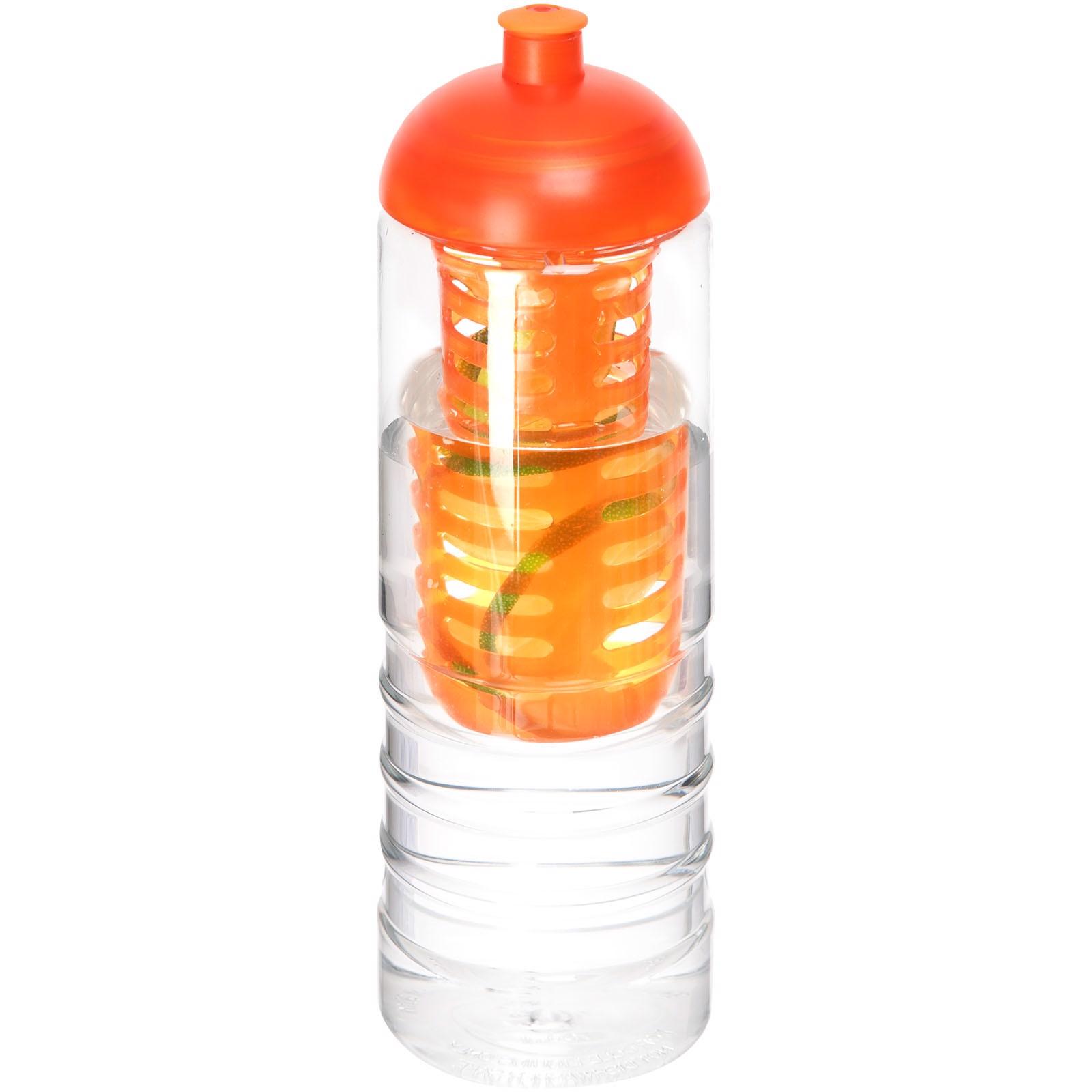 H2O Treble 750 ml Flasche mit Kuppeldeckel und Infusor - Transparent / Orange