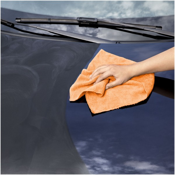 Diamond car cleaning towel and pouch - Orange