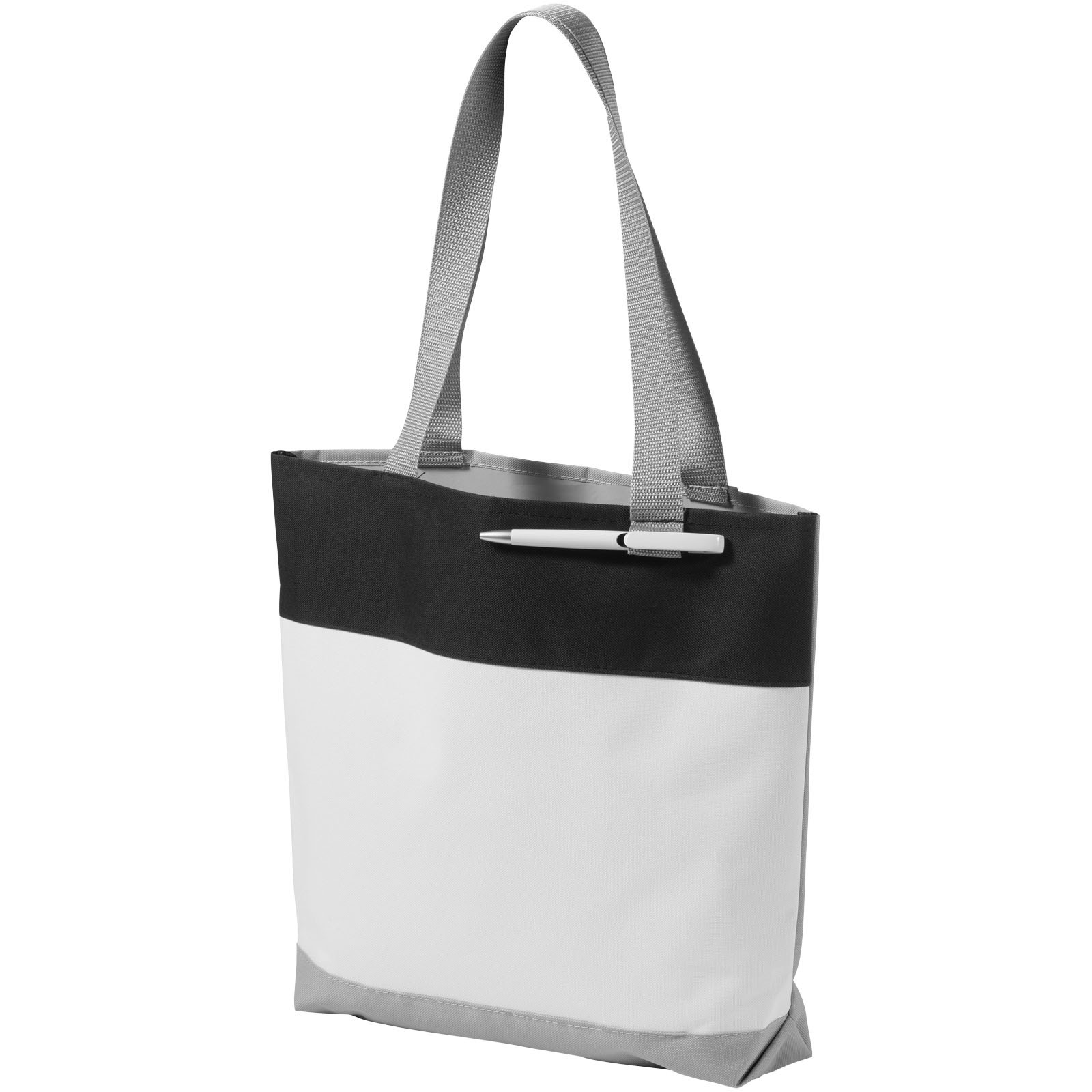 Bloomington colour-block convention tote bag - White / Solid black