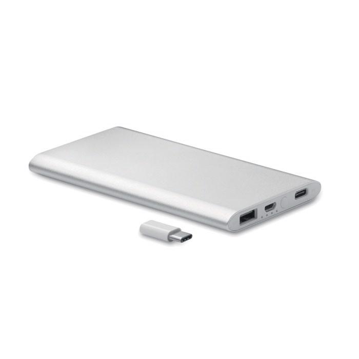 Powerbank 4000mAh Powerflatc - srebrny mat