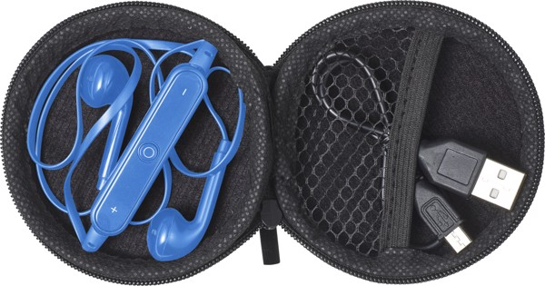 ABS pouch with earphones - Cobalt Blue