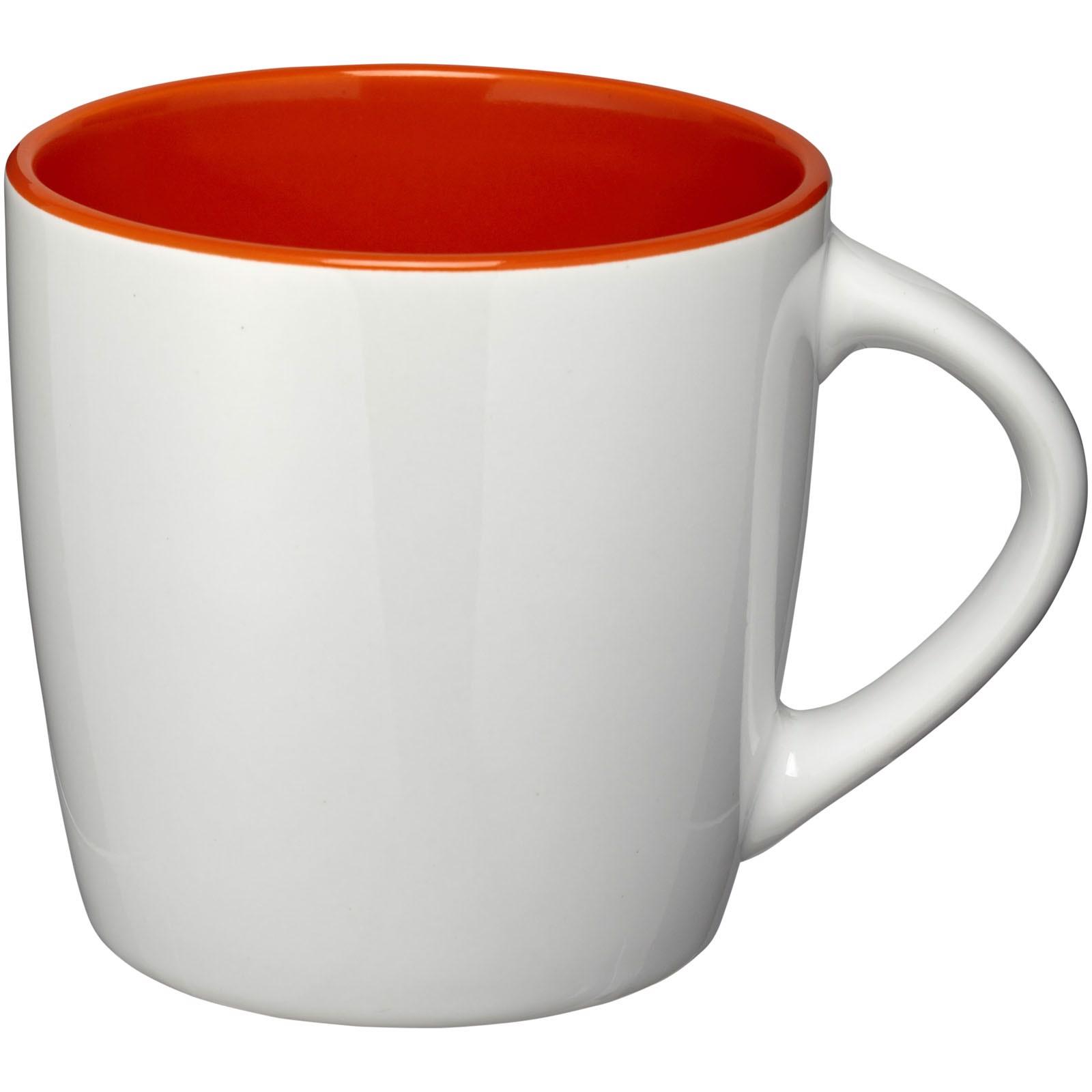 "Taza de cerámica de 340 ml ""Aztec"" - Blanco / Naranja"
