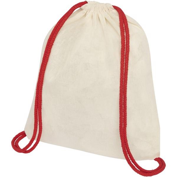 Oregon šnůrkový batoh zbavlny 100 g/m² s barevnými šňůrkami - Přírodní / Červená s efektem námrazy