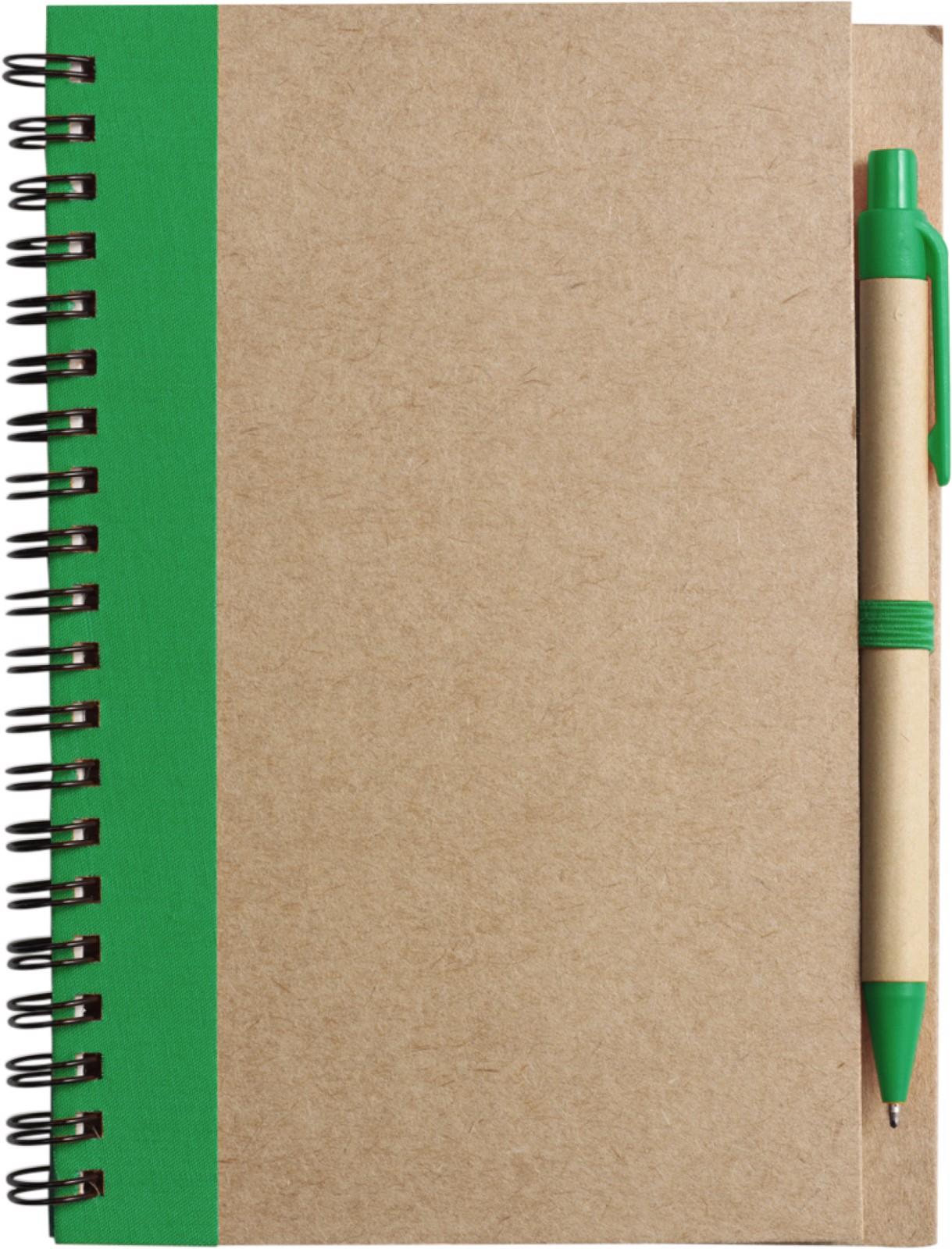 Wire bound notebook with ballpen. - Green