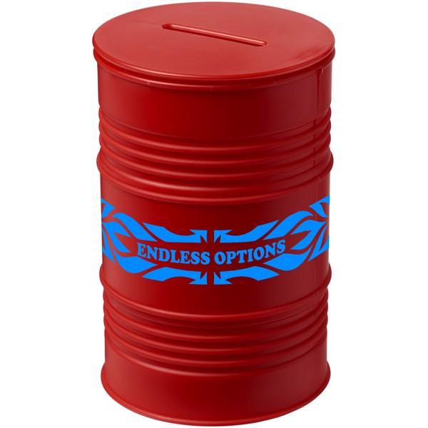 Pokladnička ve tvaru ropného barelu Banc - Červená s efektem námrazy