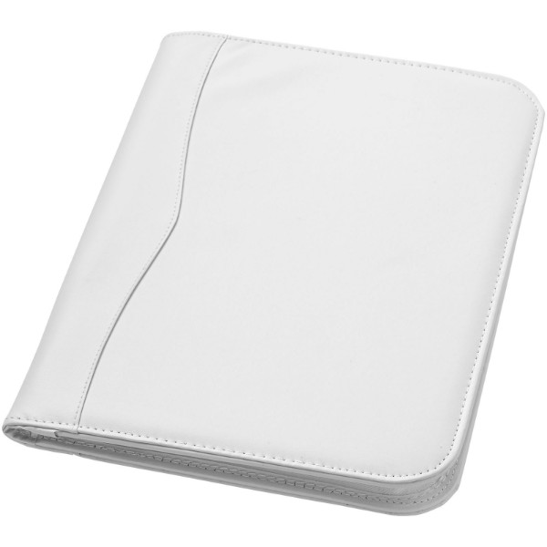 Ebony A4 zippered portfolio - White